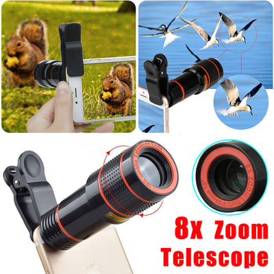 8X Optical Zoom HD Telescope Camera Lens Clip-on Fit For Universal Mobile Phones