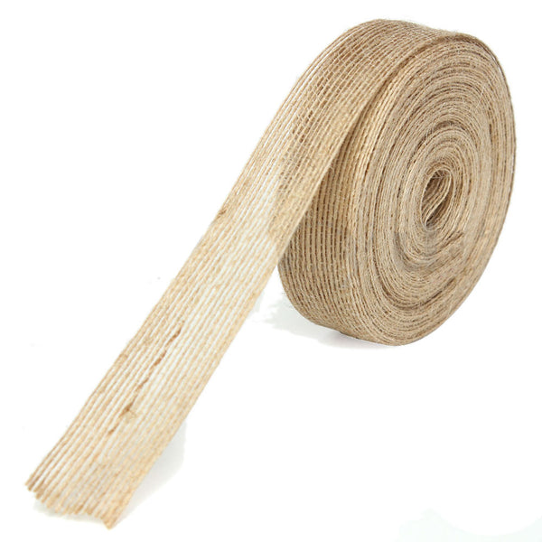 10m x 25mm Natural Jute Hessian Burlap Ribbon Wedding Belting Floristry Dec S6F2