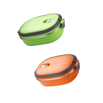 Thermal Insulated Bento Boxes Lunch Box Picnic Food Container Green Orange