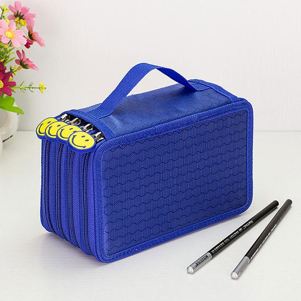 75 Slot 4 Layer Pencil Holder Pen Pouch Stationary Box Makeup Case Bag Blue