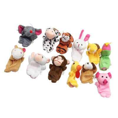 12Pcs Baby Kids Plush Cloth Play Game Learn Story Family Finger Puppets Toys