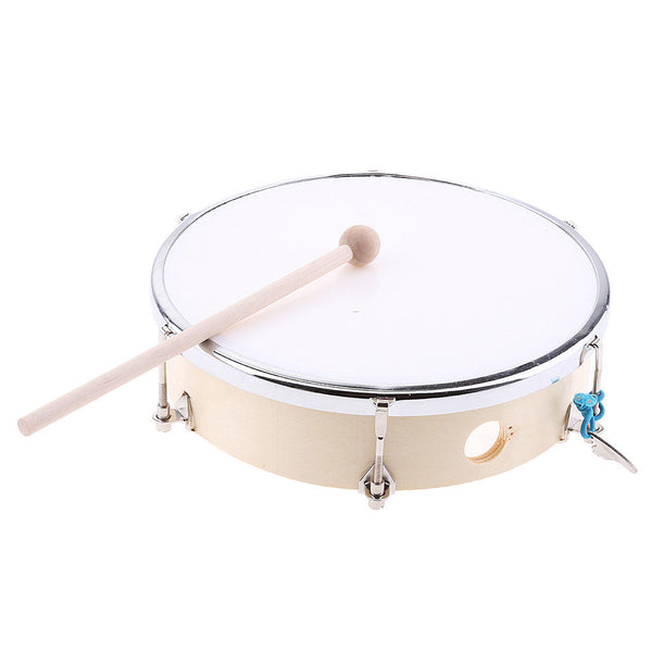 8 Inch Wood Tunable Hand Drum w/ Tuning Key Drum Stick Percussion Party Toys