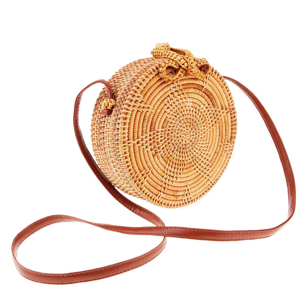 Handwoven Rattan Holiday Beach Bag Round Circle Women Purse Straw Satchel