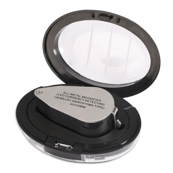 Magnifier with LED Light Metal 40x Magnifying Glass Jewelry Loupe 4pcs