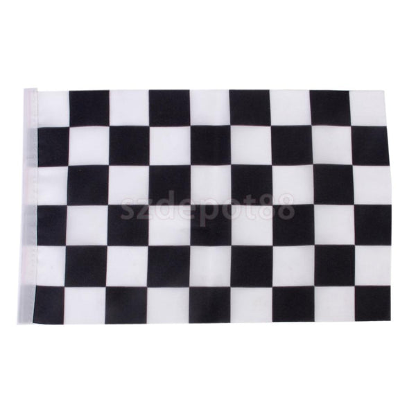Black & White Racing Speed Games Flag Hand Waving Banner w/ Flagpoles 24Pcs