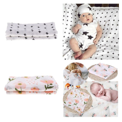 100% Bamboo Fiber Newborn Swaddle Blanket Infant Single Layer Baby Towel x 2