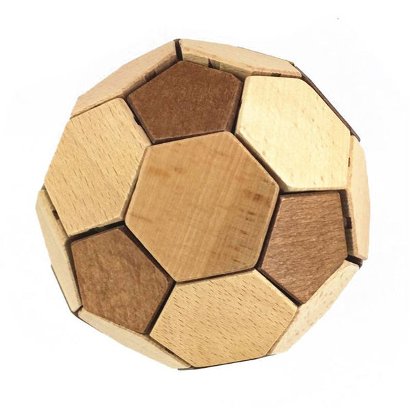 Soccer puzzle building blocks children's DIY handmade toys Wood color S4L6