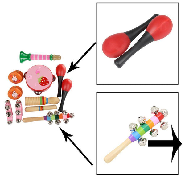 Kids Musical Instrument Kit Tamboruine+Maracas for Early Learning Education