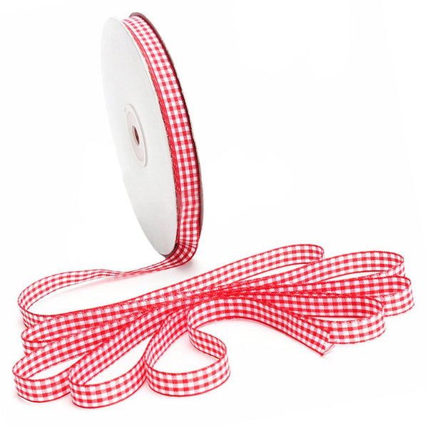 45m Full Reel Cut Lengths Gingham Ribbon Sewing Crafts, 15mm Wide Red Y2W8
