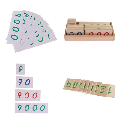 Montessori Wood Paper Number Card Toys 1-1000/9000 Preschool Maths Learning