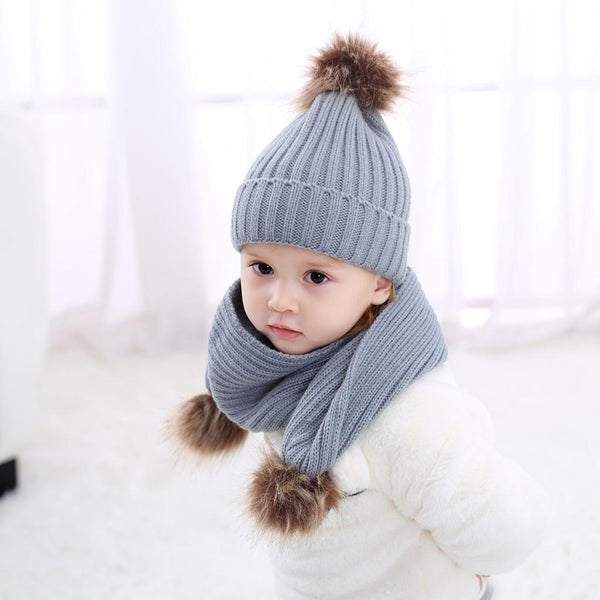 2Pair Baby Boys Girls Scarf Hat Set Knitted Winter Warm Hats Soft Beanie Cap