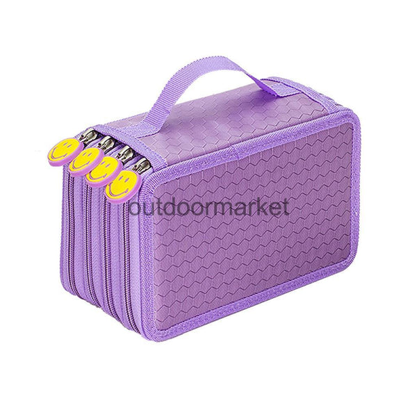 75 Slot 4Layer Pencil Holder Pen Pouch Stationary Box Makeup Case Bag Purple
