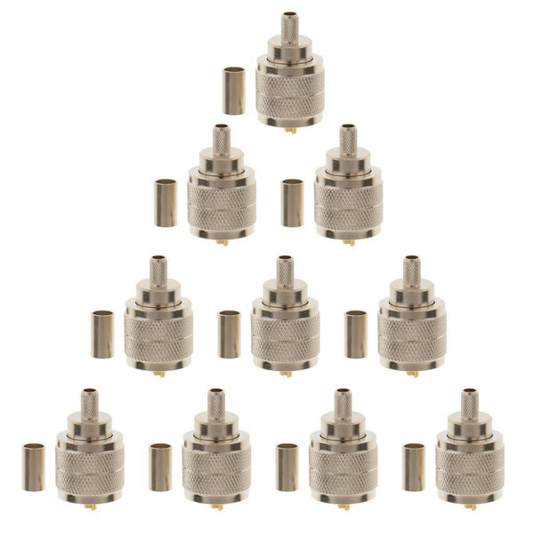 30x UHF Male SL16 Connector Plug Straight Crimp for LMR195 RG58 RG142 Cable