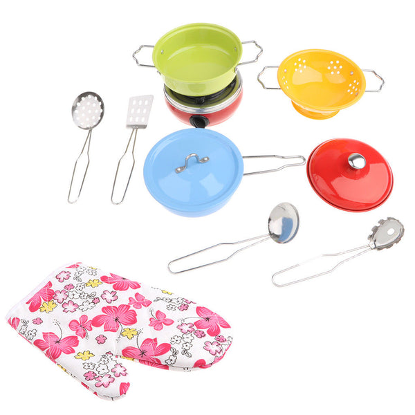 11pcs Multicolored Stainless Steel Cookware Cook Accessory Kids Pretend Play