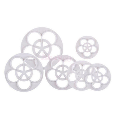 6pcs Fondant Rose Flower Pattern Mould Cake Decorating Mold Cutter Tool Set