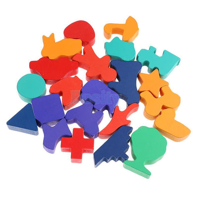 Wooden Puzzle 22 Pieces Animals Blocks Childrens Educational Learning Toys