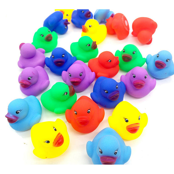 12x Colorful Baby Children Bath Toys Cute Rubber Squeaky Duck Ducky N*