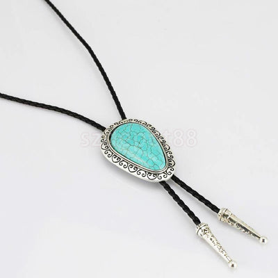 Alloy Love Turquoise Bola Tie for Men Business Wedding Party Cowboy Bolo Tie