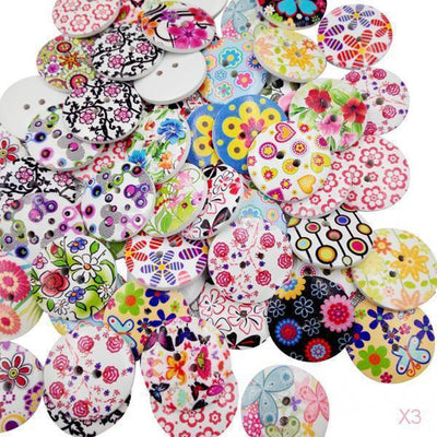 3x 100x Colorful Wooden Round Flower Flatback Buttons Embellishments for Craft