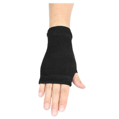 Black Elastic Combed cotton Fingerless Gloves for Women Q4X7