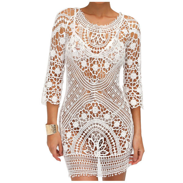 1 piece white lace summer ladies hollow hand hook back with bikini blouse V A1Q1