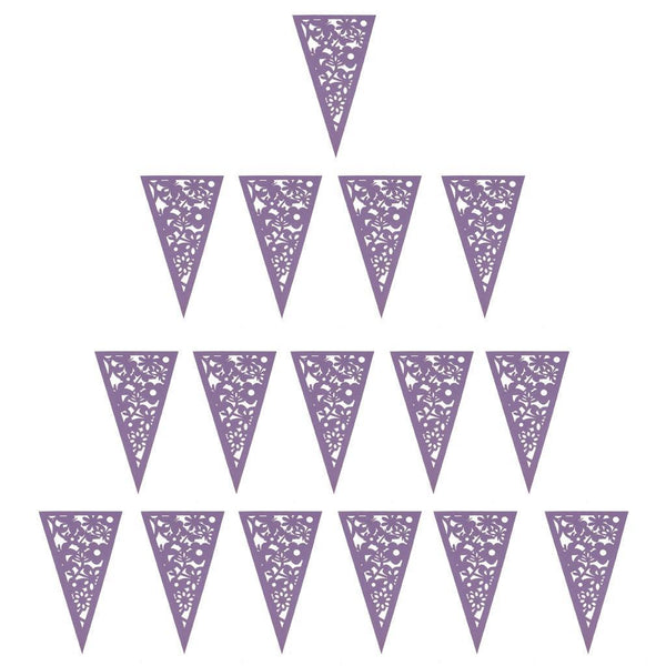8M Lace Paper Bunting Heart Flower Lilac Banner Garlands Wedding Party Decor