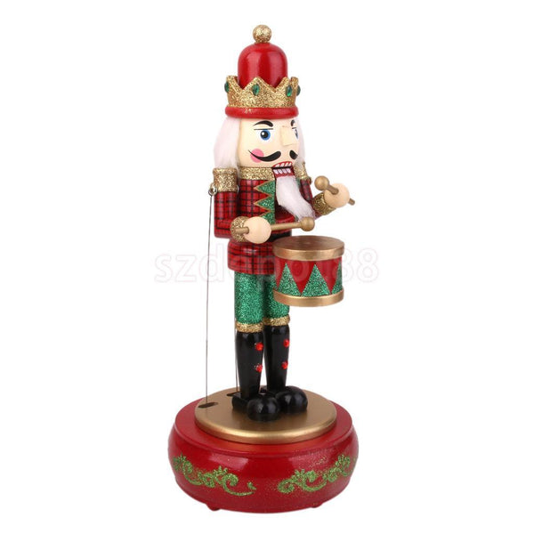 Hand Painted Wooden Christmas Musical Nutcracker Wind Up Music Box Drummer