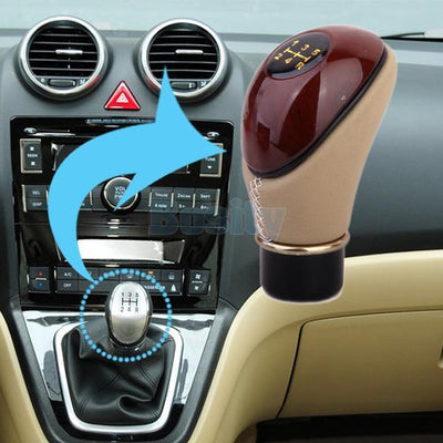Inner 13mm Wooden PU Leather Car Gear Shift Lever Knob-Brown & Beige Vehicles