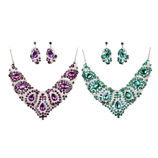 2 Set Fashion Crystal Choker Necklace Earrings Statement Party Jewelry Set