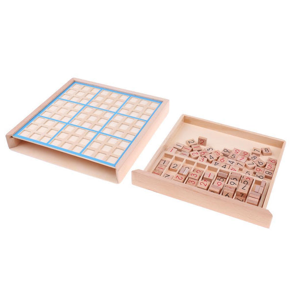 Wooden Sudoku Puzzle Games Digital Number Math Educational Chess Board Toys
