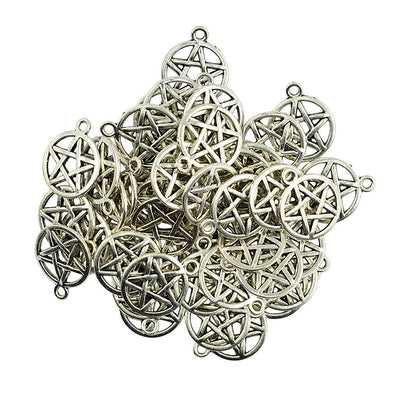 50 Pieces Round Pentacle Necklace Pendant Base DIY Jewelry Charm Accessories
