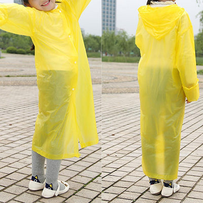Age 7-12 UnisexKid Hooded Long Rainwear Nondisposable Waterproof Raincoat YL