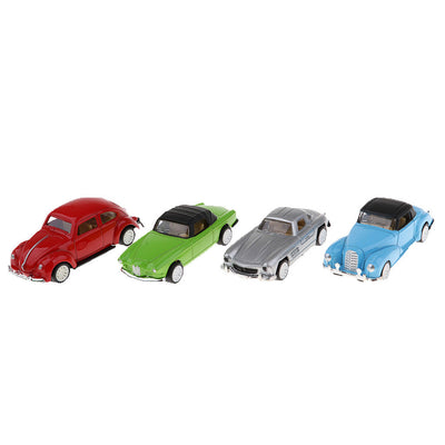 Kids Boys Party Play Vinatge Car Pull Back Models 1:64 Alloy Art Craft 4Pcs
