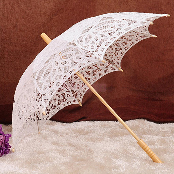 Lace Flower Girls Parasol Wedding Party Bridal Umbrella Beige Photo Prop