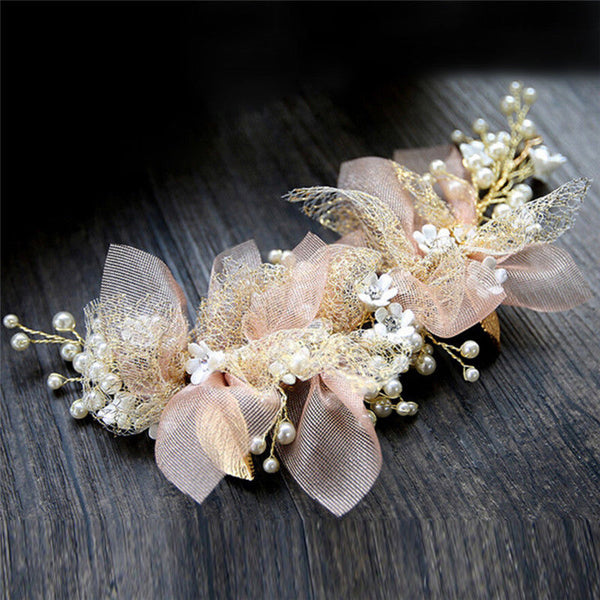 silk yarn flower bride headdress bride wedding hair accessories hair ornament Z