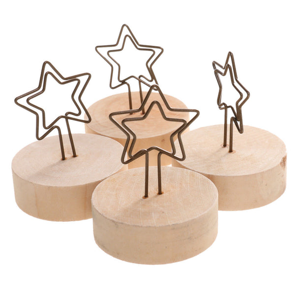 20x Cute Bird and Five-pointed Star Base Wire Photo/Card/Memo Clip Holders
