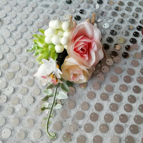Romantic Wedding Party Rose Succulent Plant Boutonniere Corsage Brooch Pin