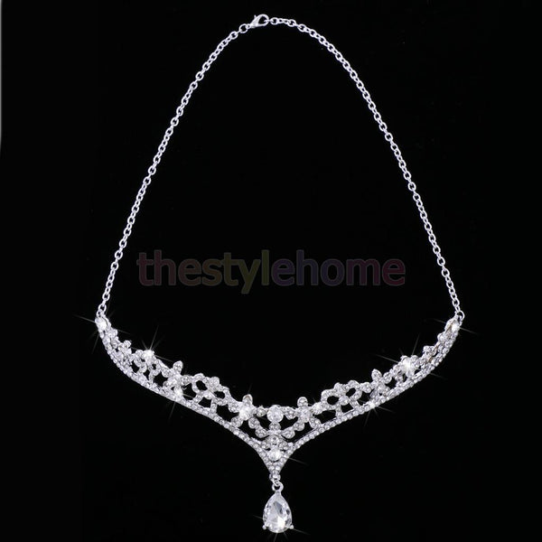 Magideal Chic Wedding Bridal Tear Drop Rhinestone Pendant Head Chain Jewelry