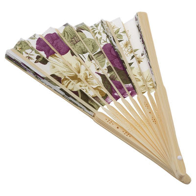 Women's Summer Wedding Floral Pattern Fabric Folding Hand Fan White Purple Q8M2