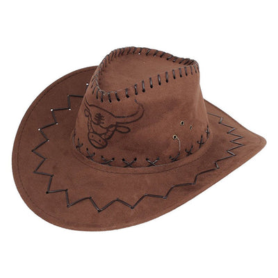 Men Flannel Strap Winding Cow Head Pattern Faux Suede Cowboy Hat Brown B1Q1 M4I2