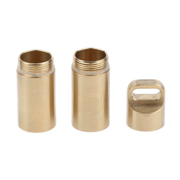 Outdoor Brass Waterproof Mini Pill Box Medicine Tablet Case Double Layers