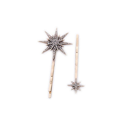 5x Elegant Crystal Moon Star Women Bride Rhinestone Hairpins Hair Clips Jewelry