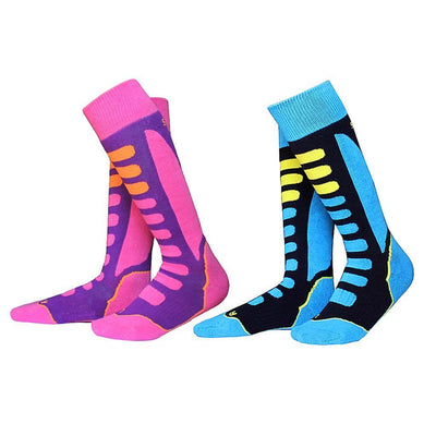2 Pairs Kids Winter Thermal Warm Long Ski Snow Sports Towel Socks EU 27-30