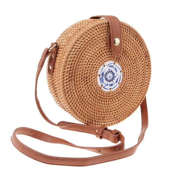 Brown Bohemia Style Rattan Straw Bags Tile Embellish Buckle Button for Beach
