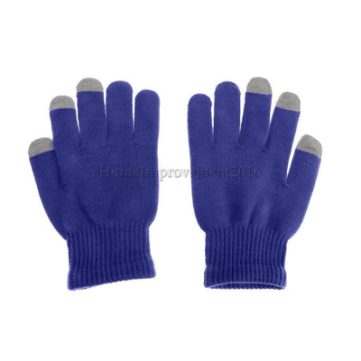 Touch Screen Gloves Texting SmartPhone Tablet Knitted Mittens Sapphire Blue