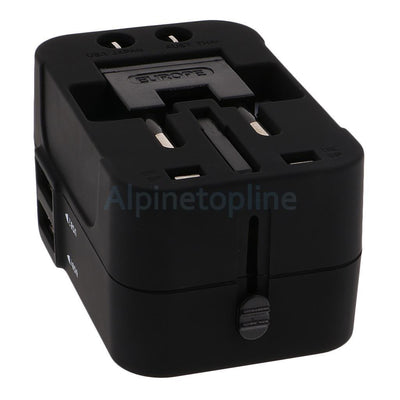 Black Worldwide Universal Travel Charger Adapter Dual USB PORT AU/UK/US/EU