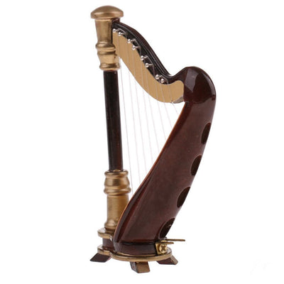 20cm Wooden 8-Strings Harp Musical Instrument with Box Home Desk Decoration