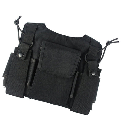 Universal Walkie Talkie Radio Holder Vest Chest Harness Holster Black