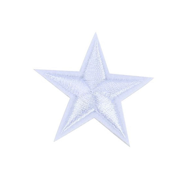 10pcs White Star Embroidered Iron On / Sew On Badge Applique Patch White Q4F6