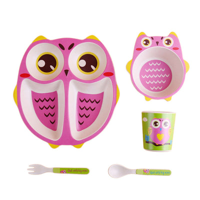 Children Bamboo Dinnerware Set- Divided Plate, Bowl, Cup, Fork & Spoon Pink
